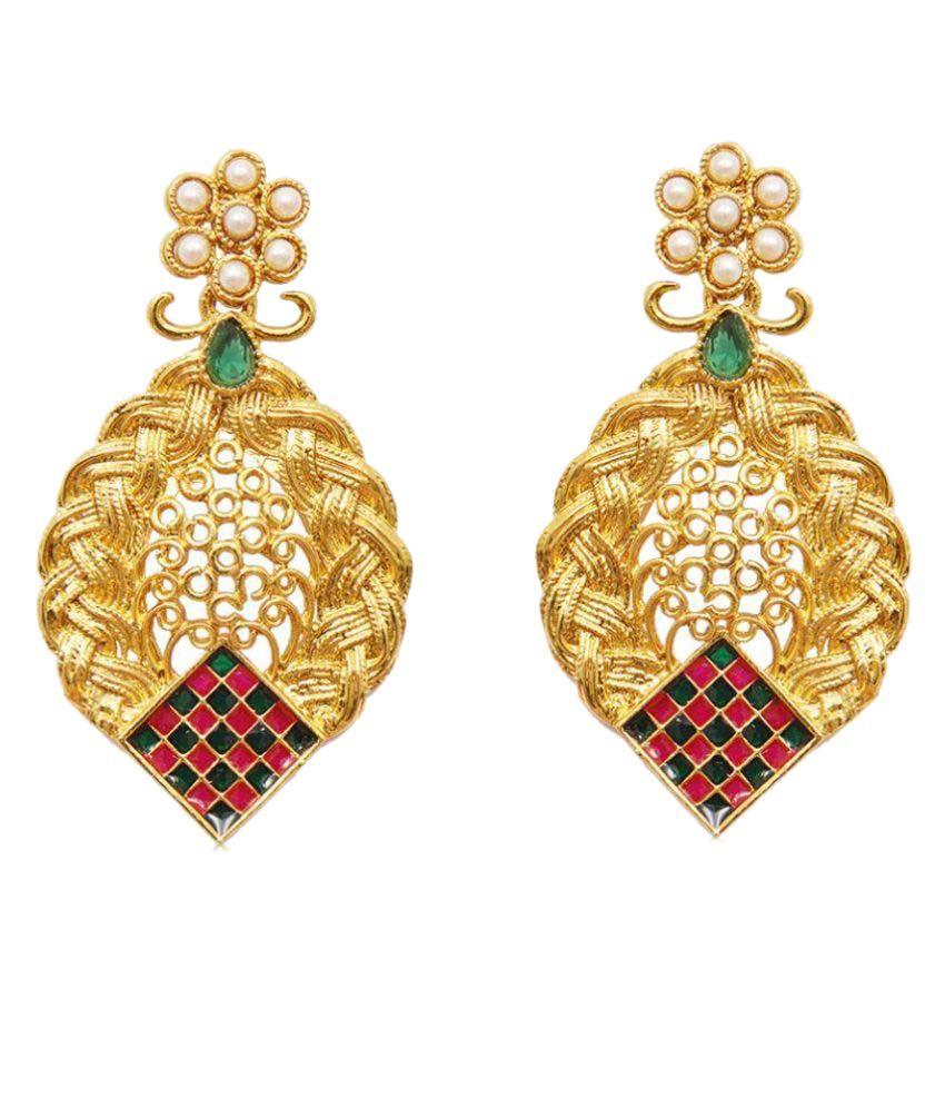 Ratnakar Golden Hanging Earrings