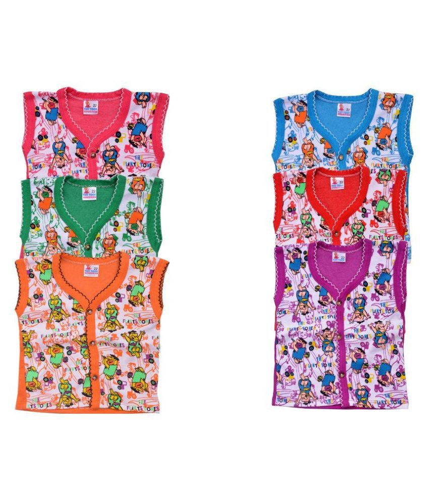 Tiny Toon Multicolour Cotton Top - Pack of 6