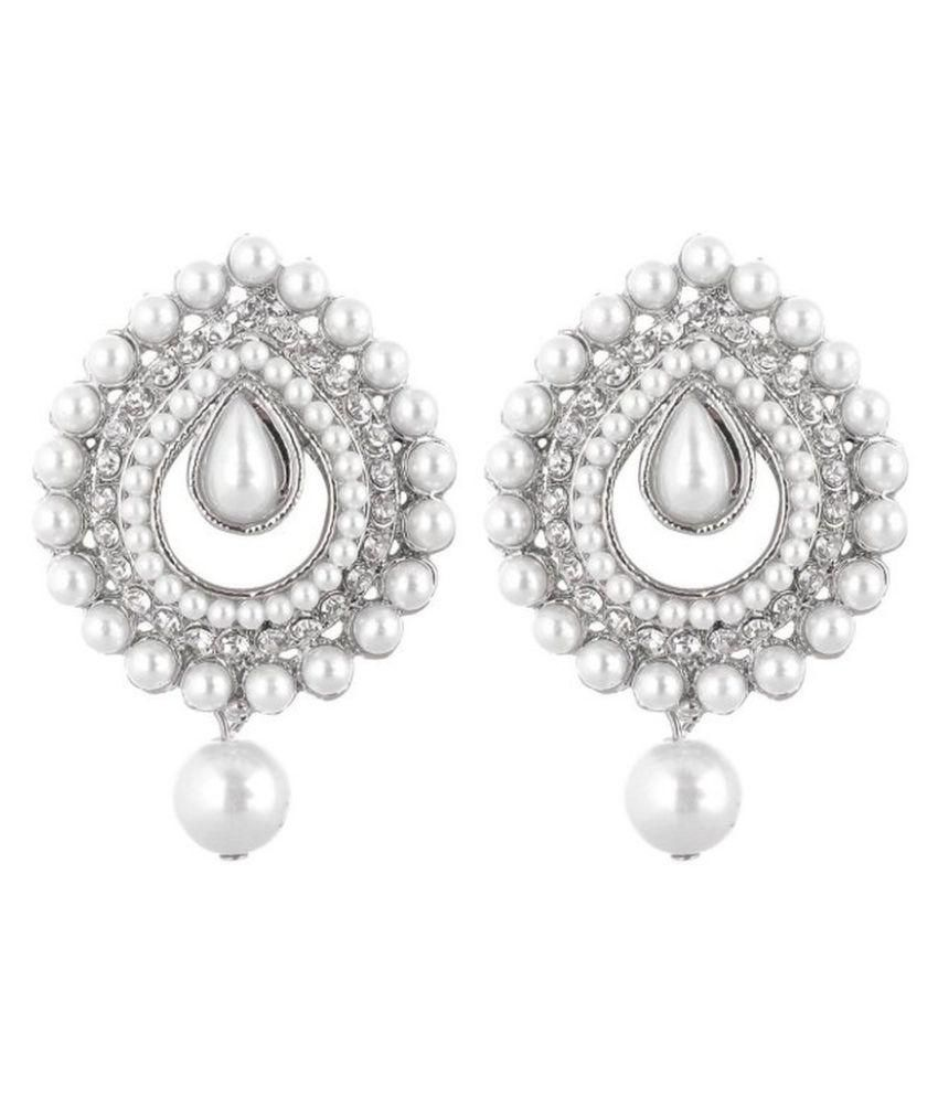 Jewels Guru Silver Drop Earrings