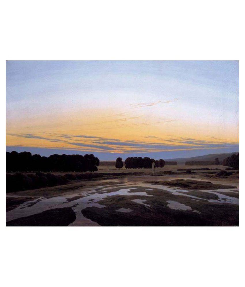 Tallenge Textured - The Grosse Gehege near Dresden by Caspar David Friedrich - Medium Size Canvas Art Print