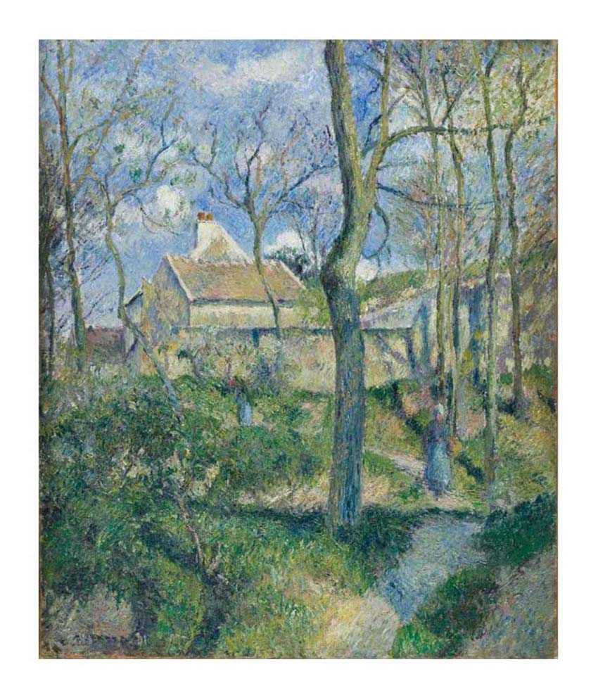 Tallenge Textured - The Path to Les Pouilleux, Pontoise by Camille Pissarro - Medium Size Canvas Art Print