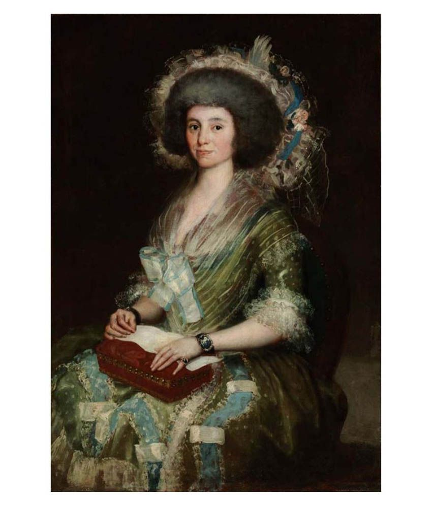 Tallenge Textured - The Wife of Ceán Bermúdez by Francisco Goya - Small Size Canvas Art Print
