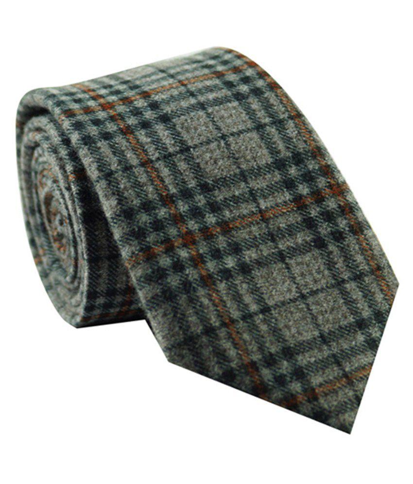 The Tie Hub Gray Polyester Skinny Tie