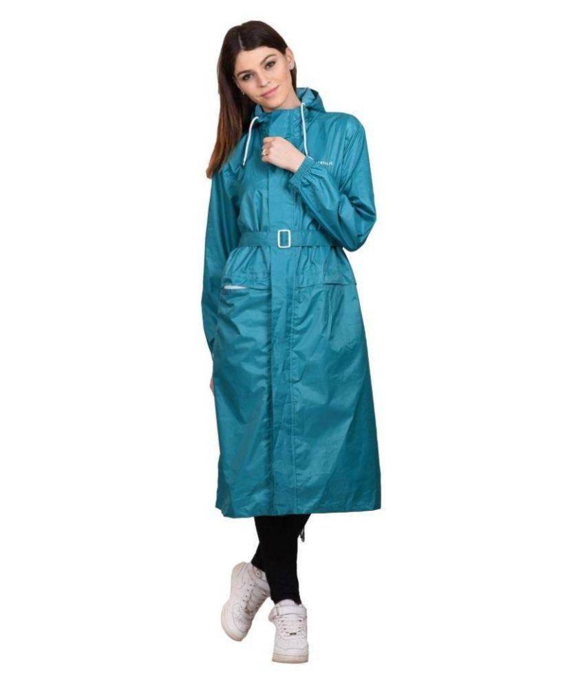 Versalis Blue Polyester Long Raincoat