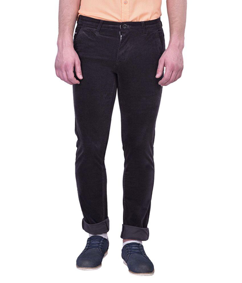 Blue Buddha Brown Slim Fit Flat Trousers