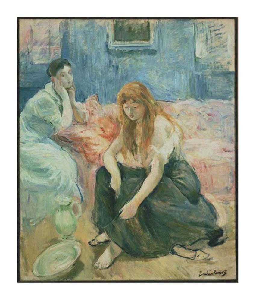 Tallenge Textured - Two Girls by Berthe Morisot - Medium Size Canvas Art Print