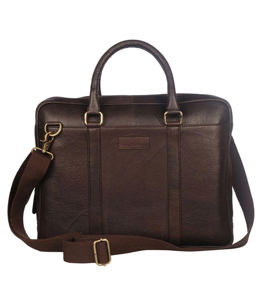 c093a34d57 Justanned Laptop Bag Brown Leather men - Buy Justanned Laptop Bag Brown  Leather men Online at Low Price - Snapdeal