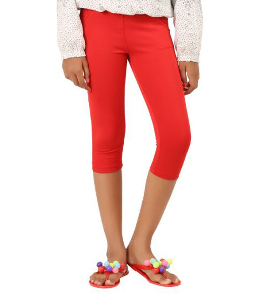Lil Orchids Red Polyester Capri