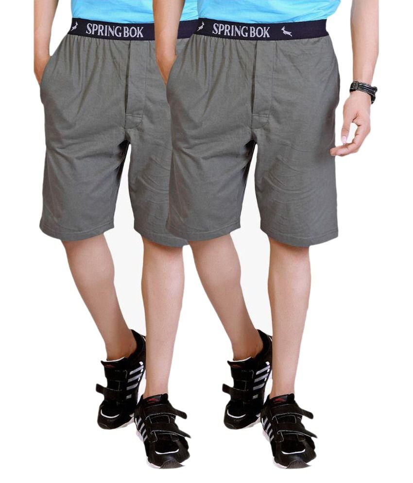 LUCfashion Grey Shorts Pack of 2