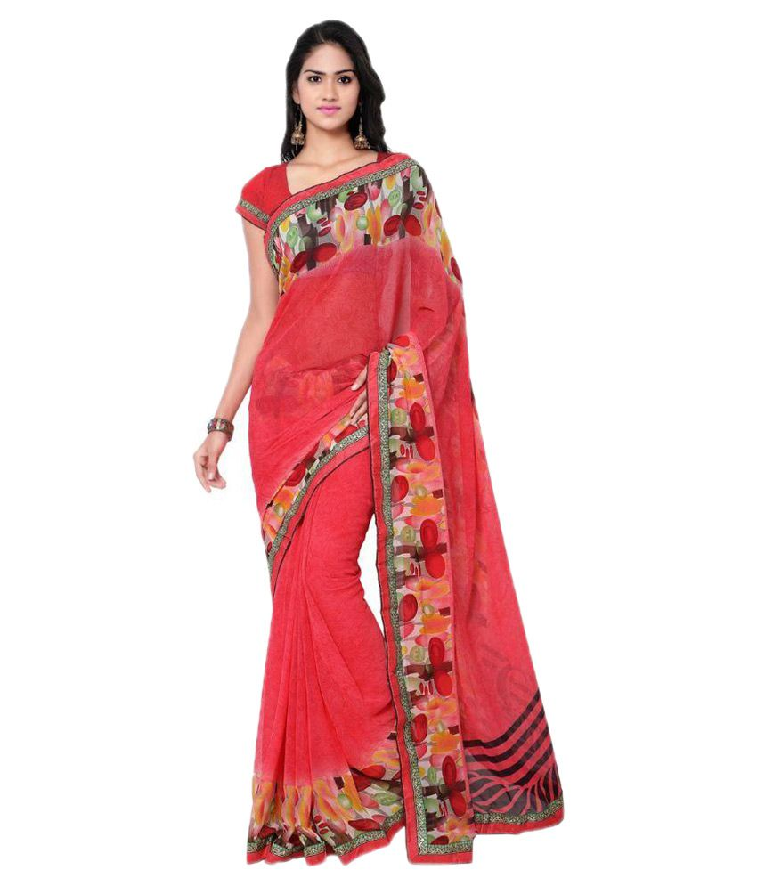 7 Brothers Red Georgette Saree
