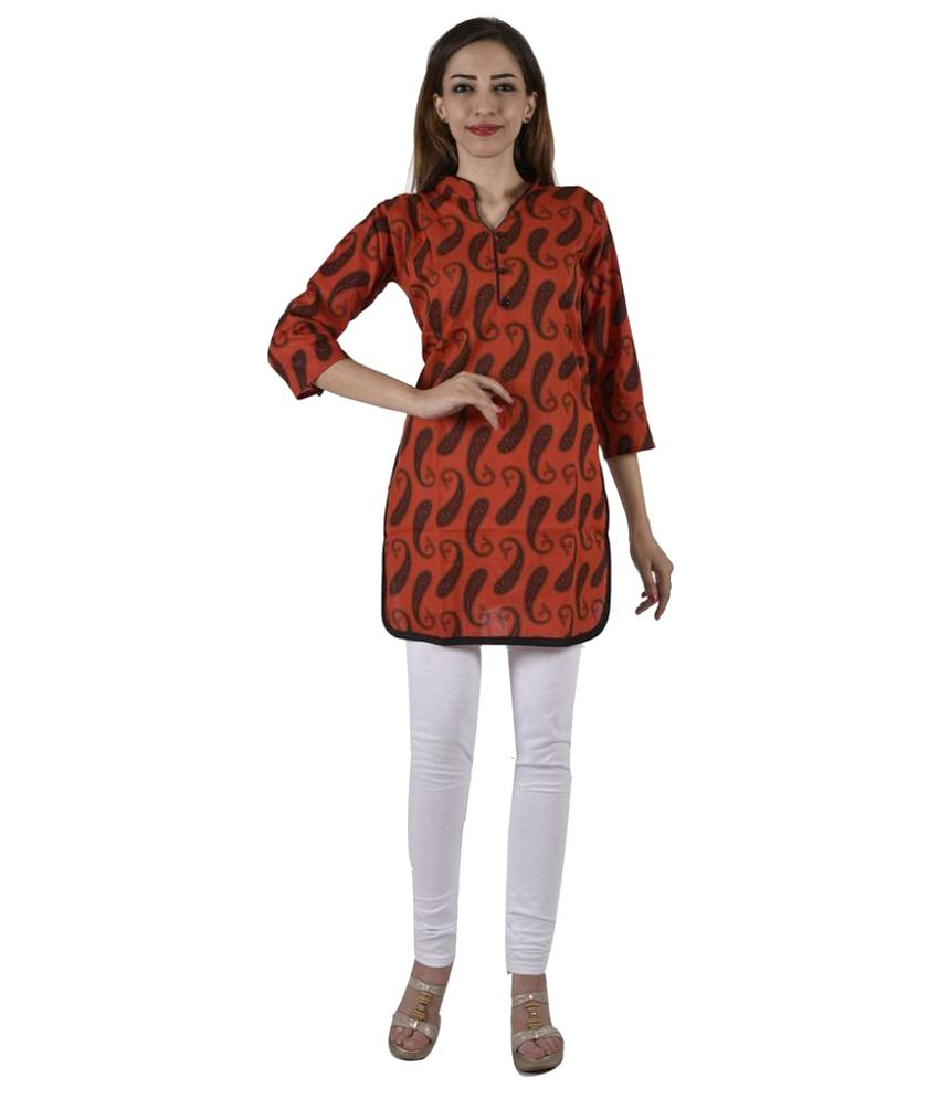 Ezbay Red Cotton Straight Kurti