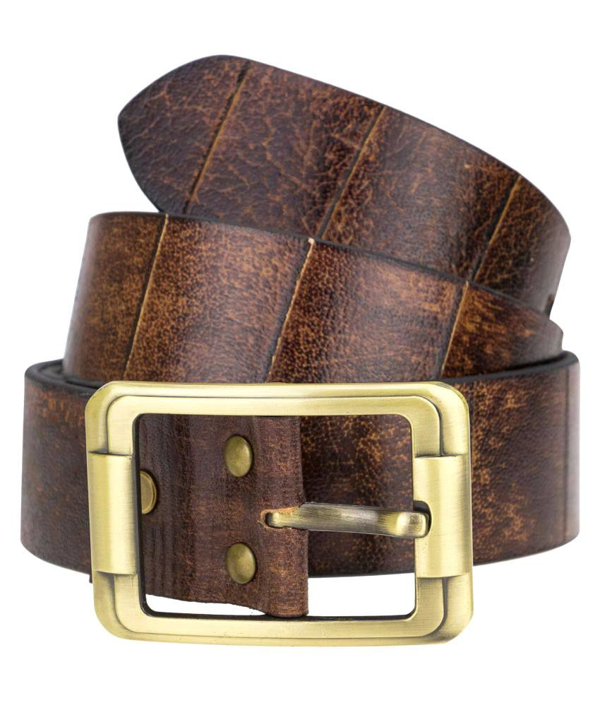 Kaos Brown Leather Casual Belt for Men