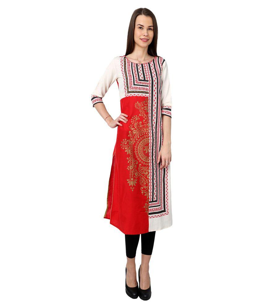 Boho Monk Multi Color Cotton Straight Kurti
