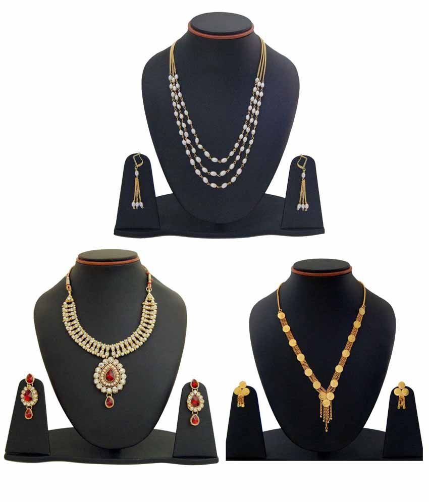 Manukunj Multicolor Necklace set Combo - Pack of 3