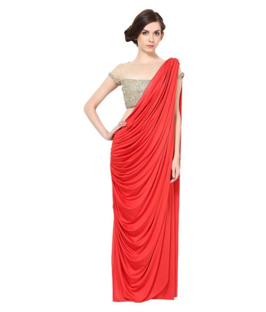 Fashiononline Red Georgette Saree Gown - Buy Online at Best Price in ...
