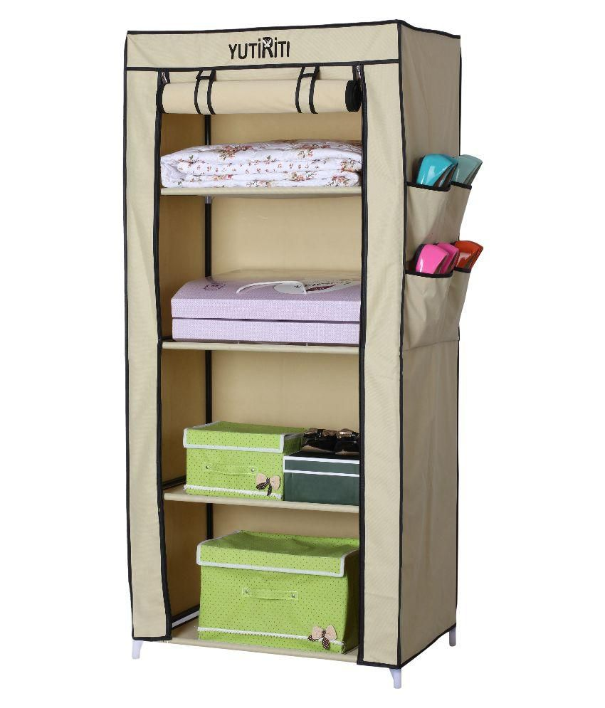 YUTIRITI Fancy Single Door Cream Portable Multipurpose Waterproof Fabric  Wardrobe Closet Organizer   27 X 18 ...
