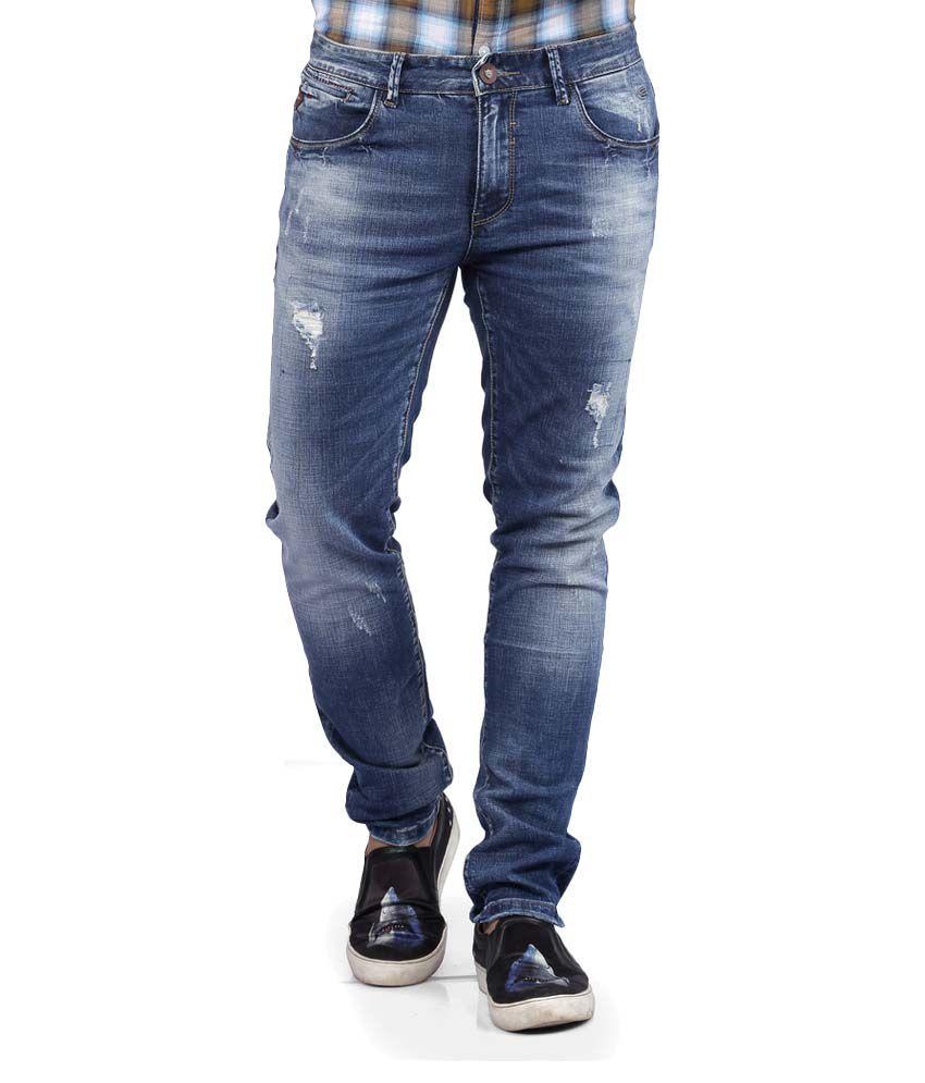 Nostrum Jeans Blue Slim Distressed