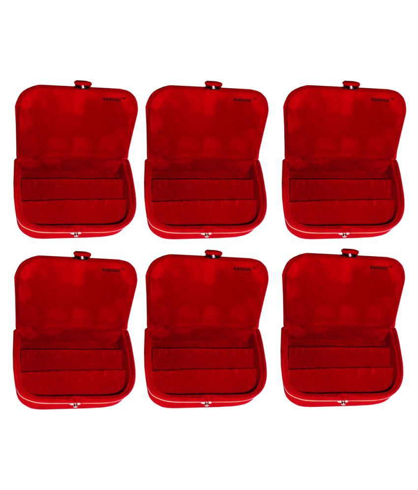 ABHINIDI Red Wood Jewellery Box - Pack of 6