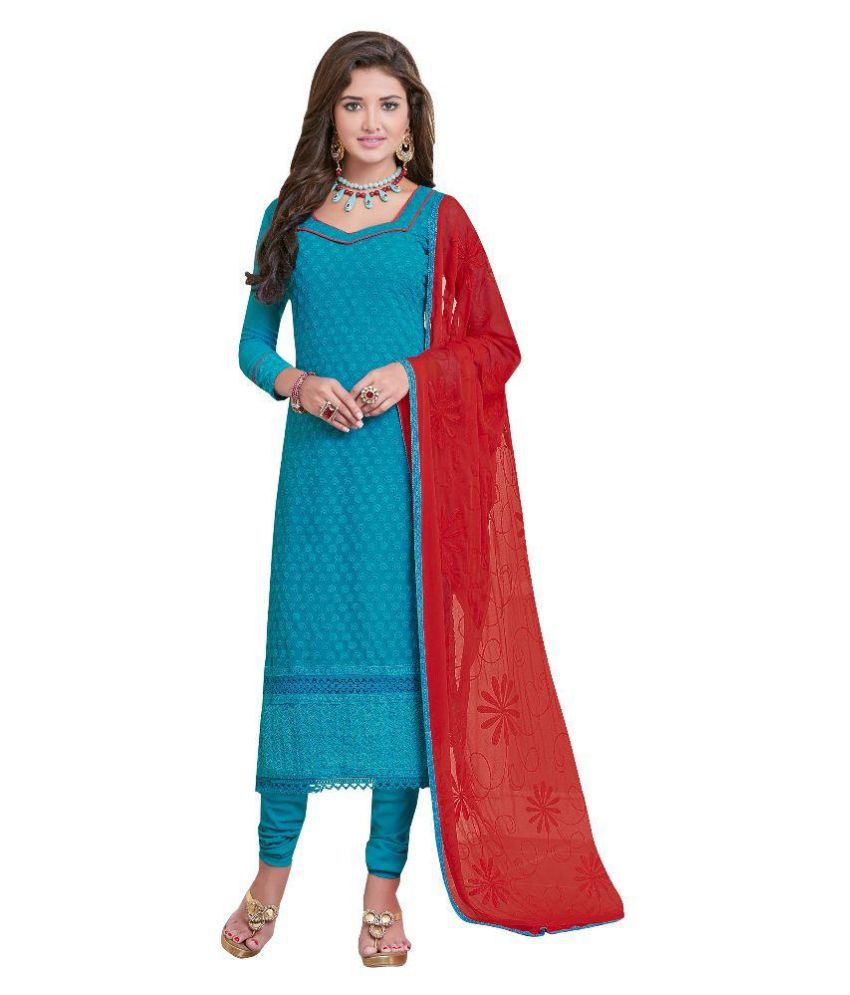 Lovely Fashion Blue Georgette Straight Unstitched Dress Material