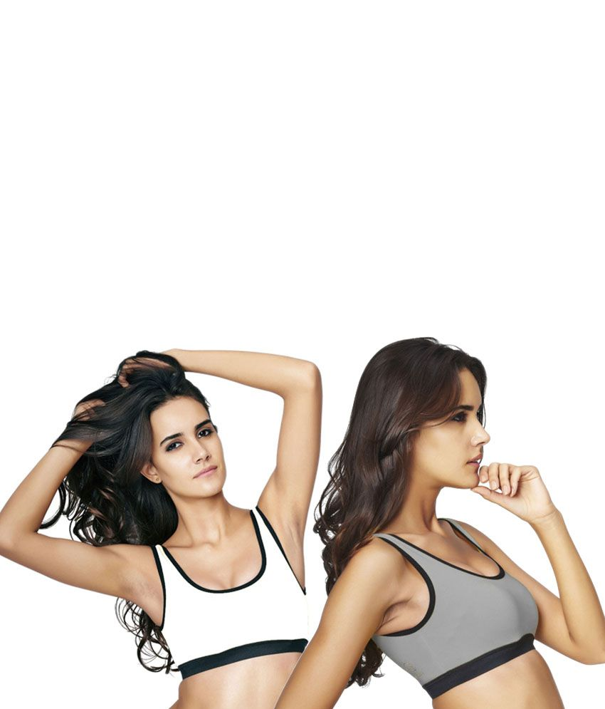 Restless Grey and White Cotton Lycra Sports Bra (Pack of 2)