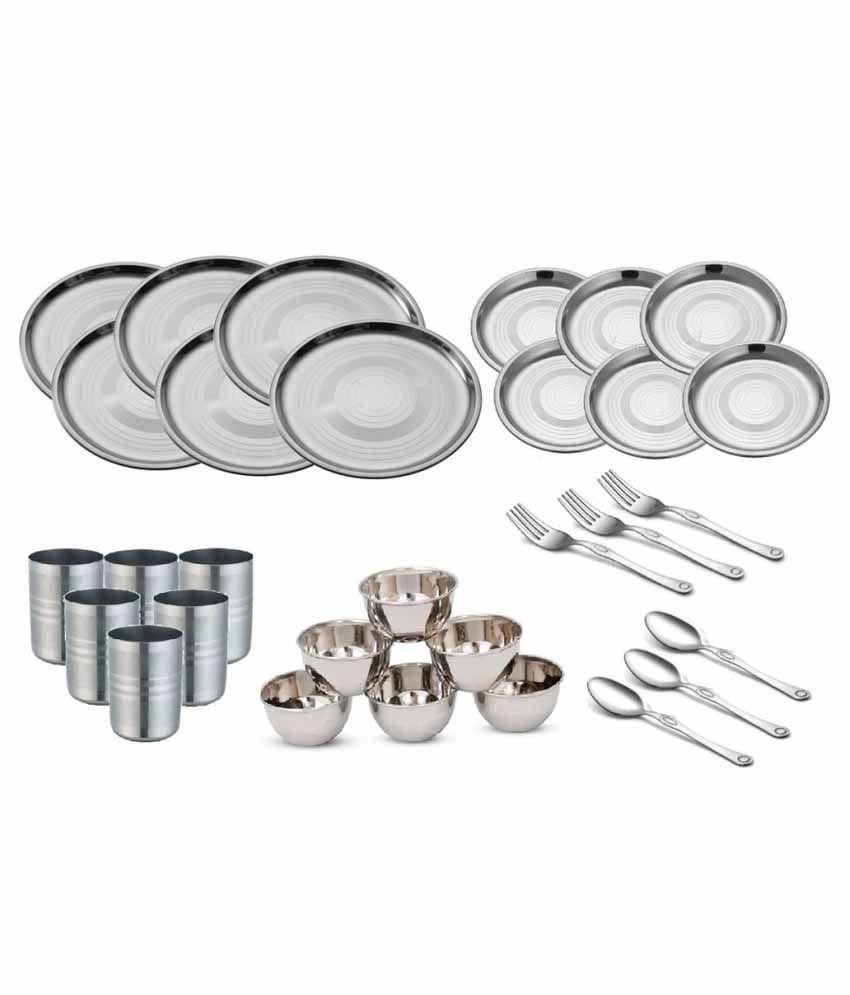 Shivom Stainless Steel Dinner Set - 30 Pcs