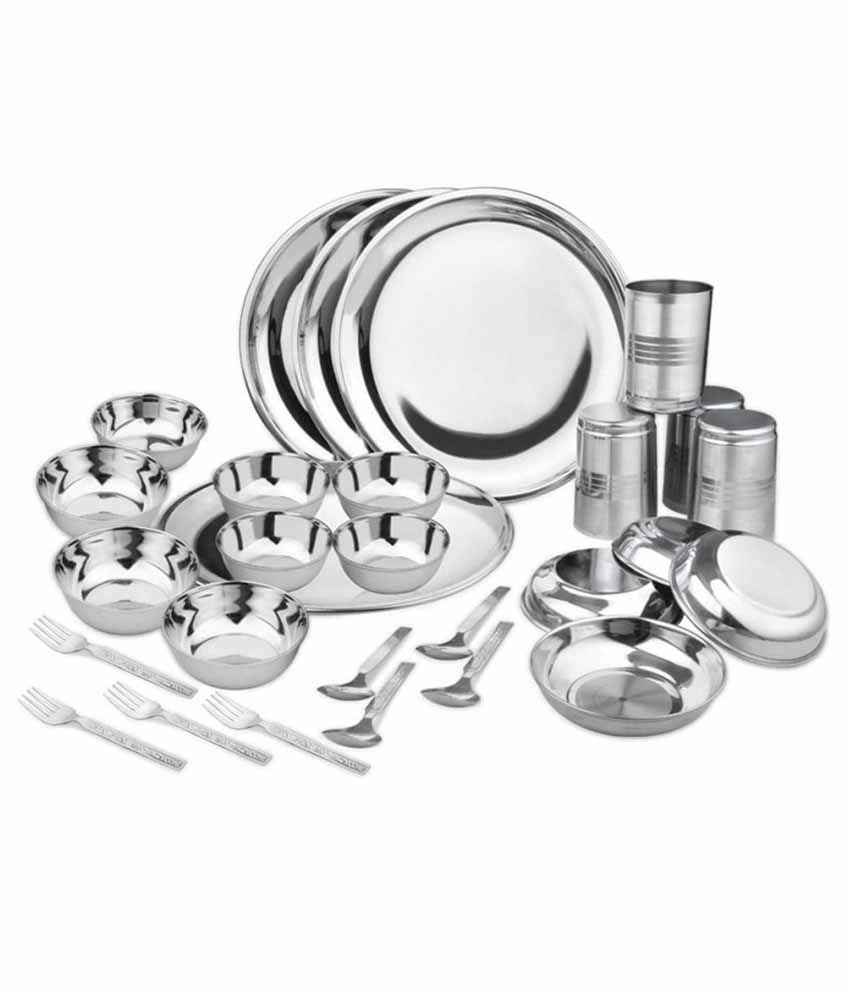 Shivom Stainless Steel Dinner Set - 28 Pcs