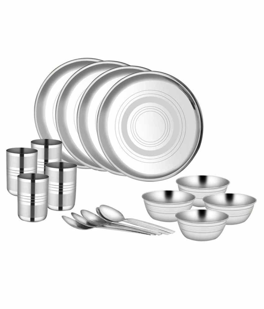 Shivom Stainless Steel Dinner Set - 16 Pcs