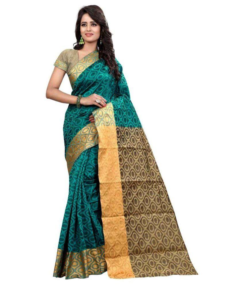 Moxa Fashion Green Cotton Saree