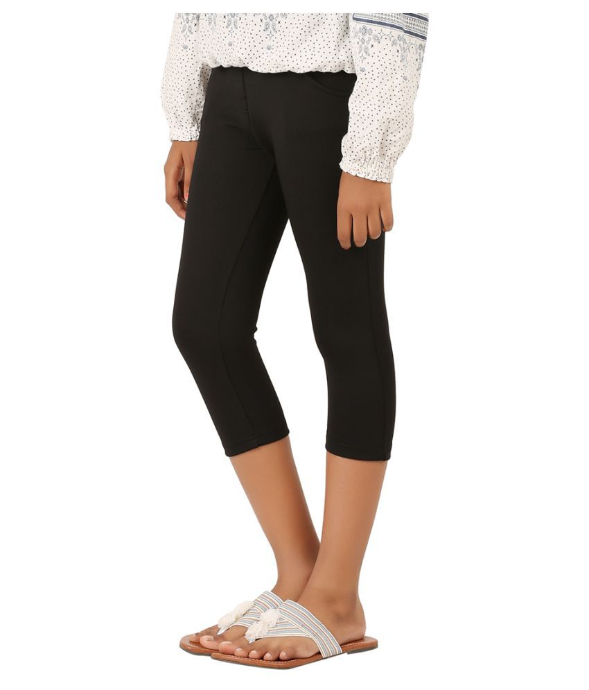 Lil Orchids Black Polyester Capri for Girls