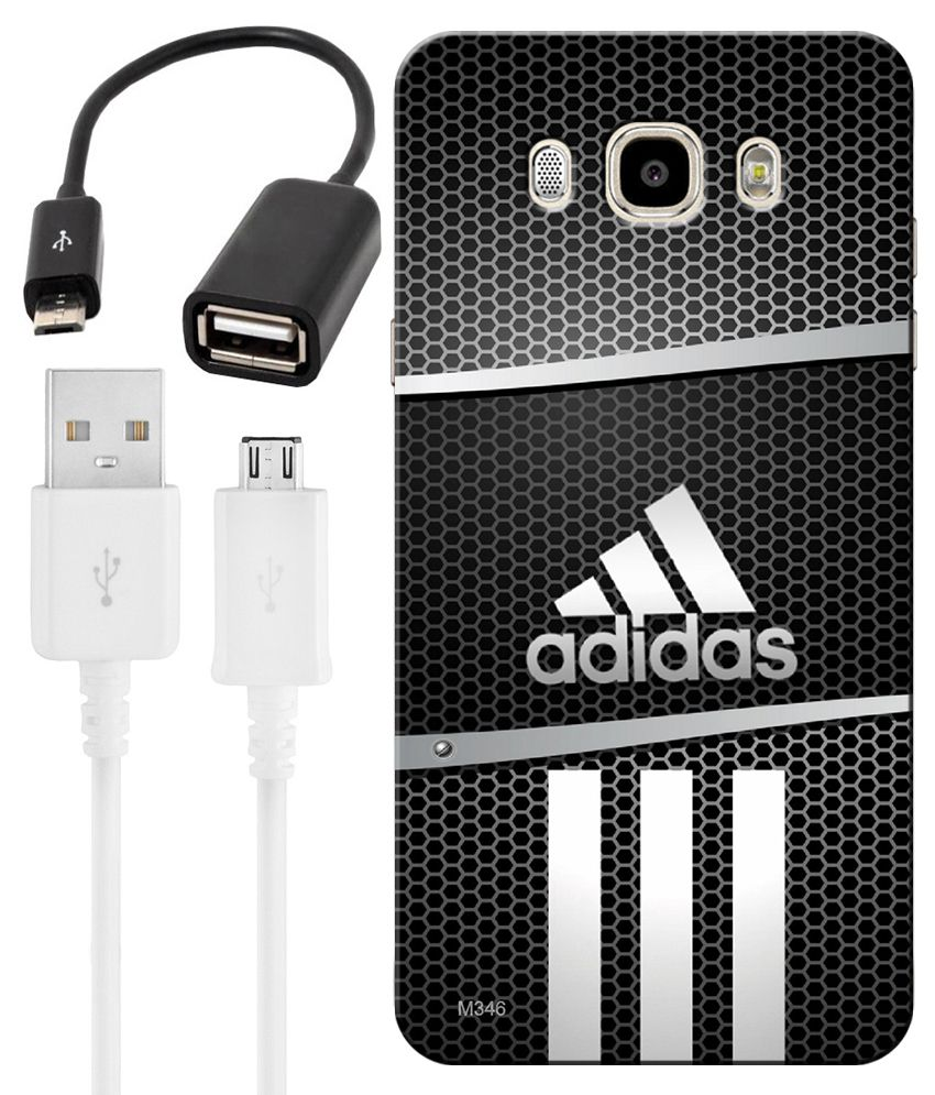 FineArts Combo of Adidas HD UV Printed Mobile Back Cover, Charging Cable and OTG Cable For Samsung Galaxy J5 2016