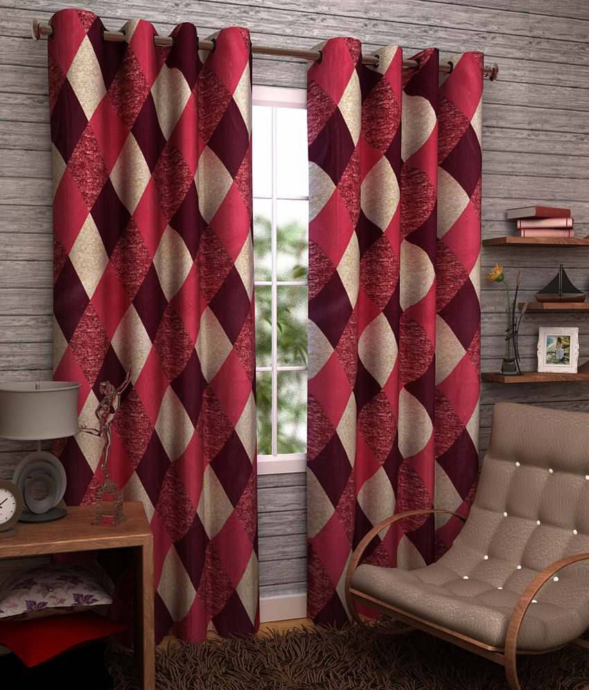 Homefab India Red Checks Polyester 3 Curtains This Is A 3 Pc Set Only Other Accessories Shown Is For Photography Purpose Only. Checks Red