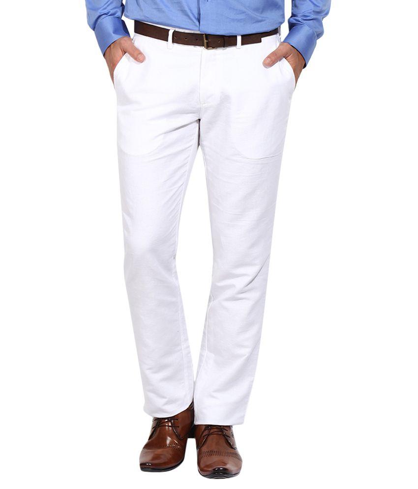 BLACKBERRYS White Regular Fit Formal Trousers