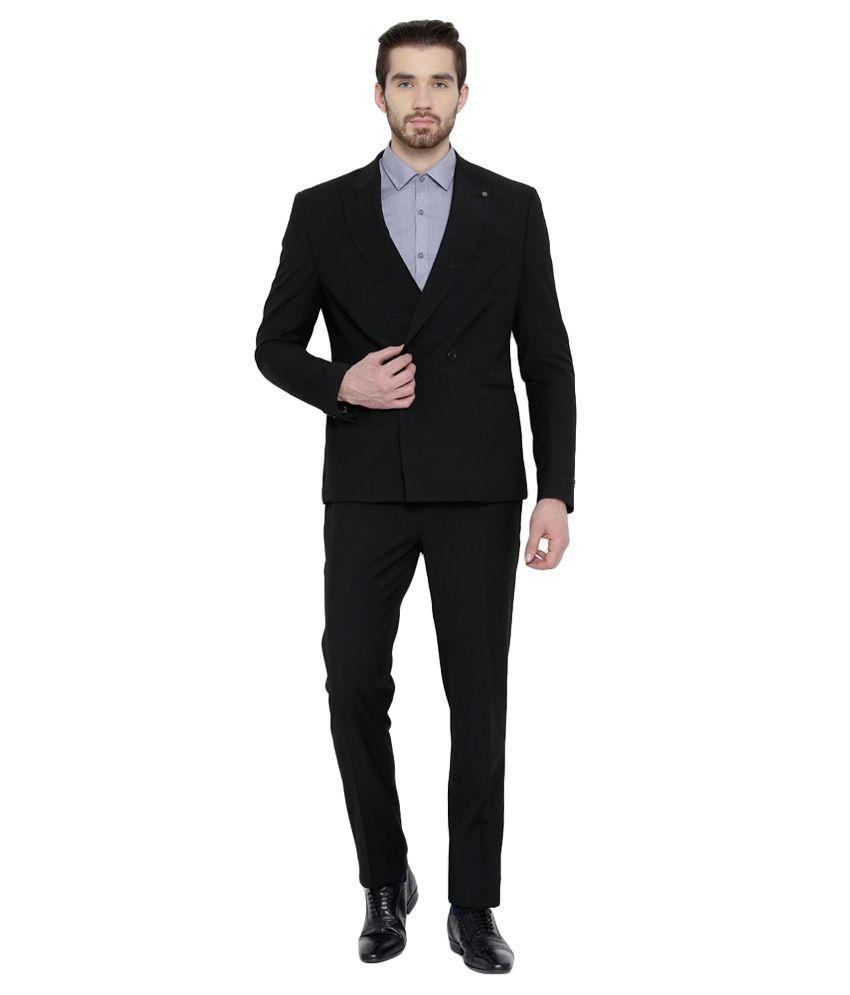 BLACKBERRYS Black Skinny Fit Double-Breasted Suit