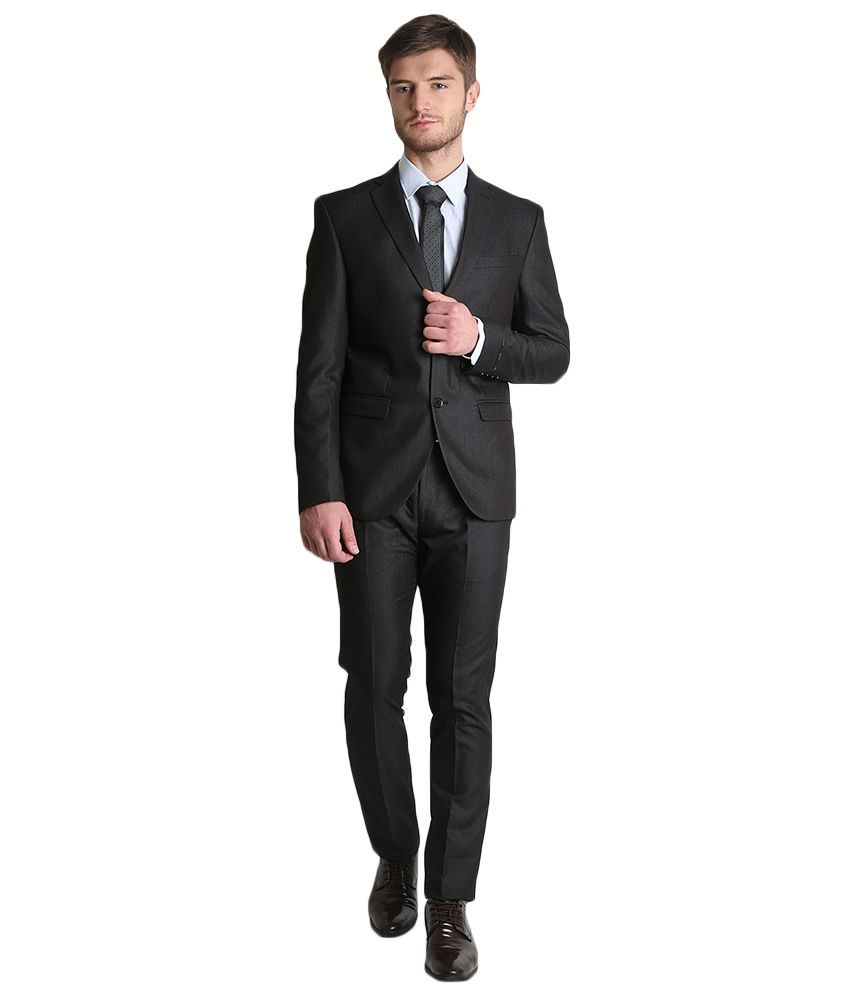 BLACKBERRYS Black Slim Fit Single-Breasted Suit