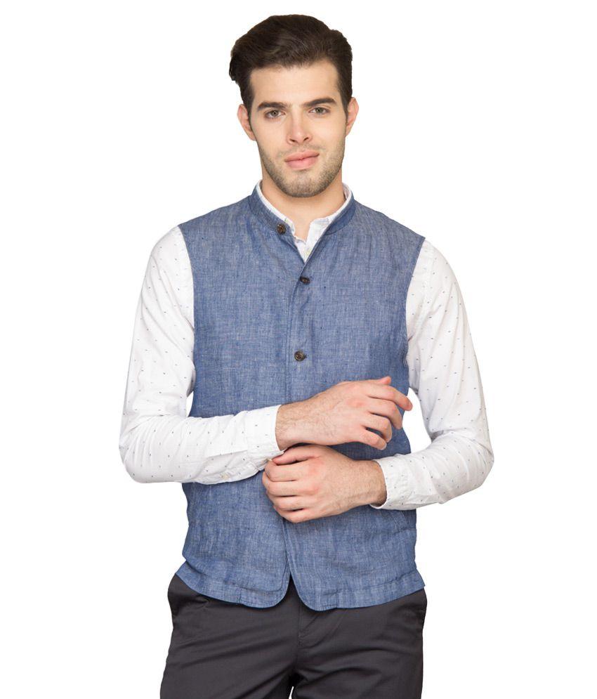 BLACKBERRYS Blue Slim Fit Waistcoat
