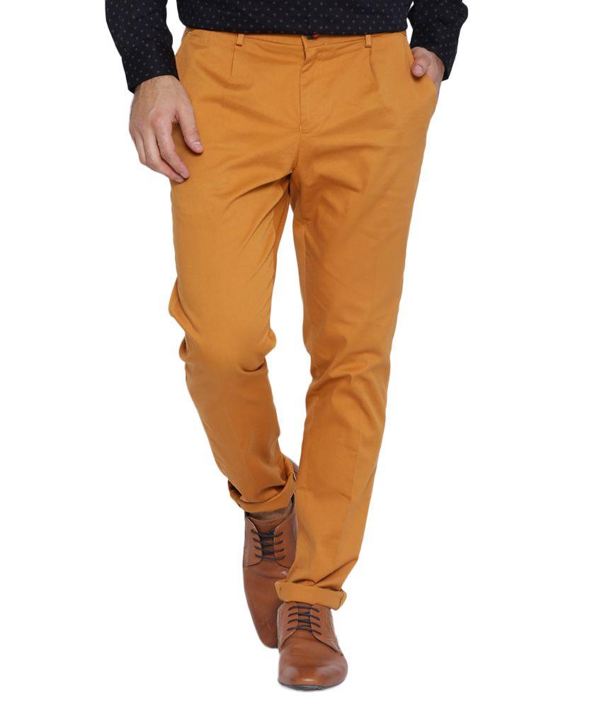 BLACKBERRYS Brown Skinny Fit Casual Trousers