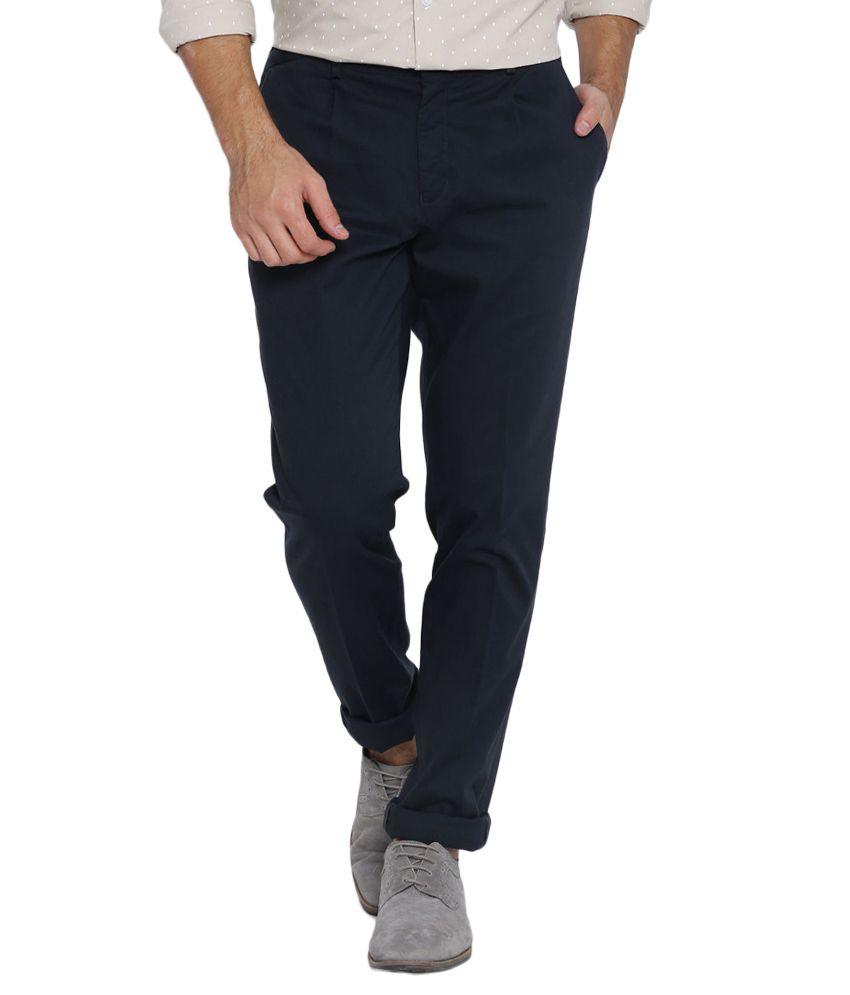 BLACKBERRYS Navy Blue Skinny Fit Casual Trousers