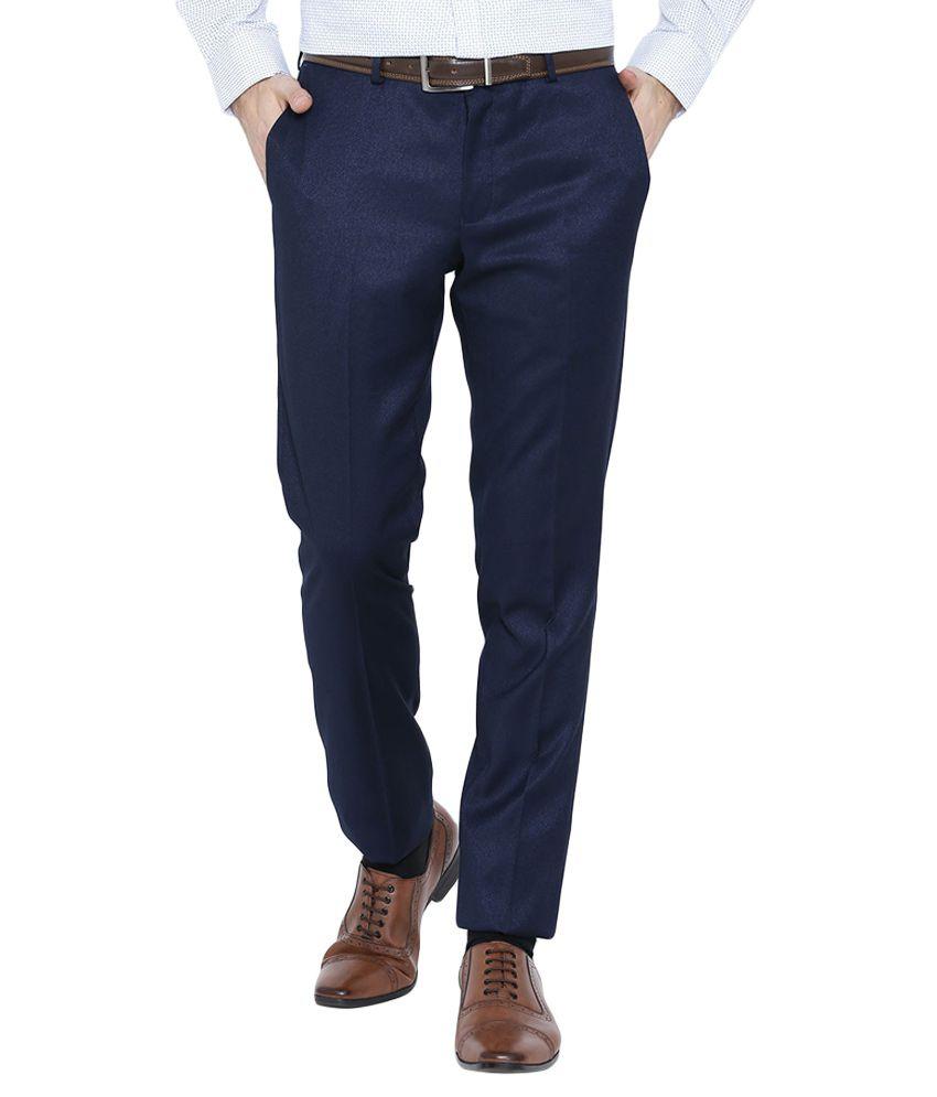 BLACKBERRYS Navy Blue Slim Fit Casual Trousers