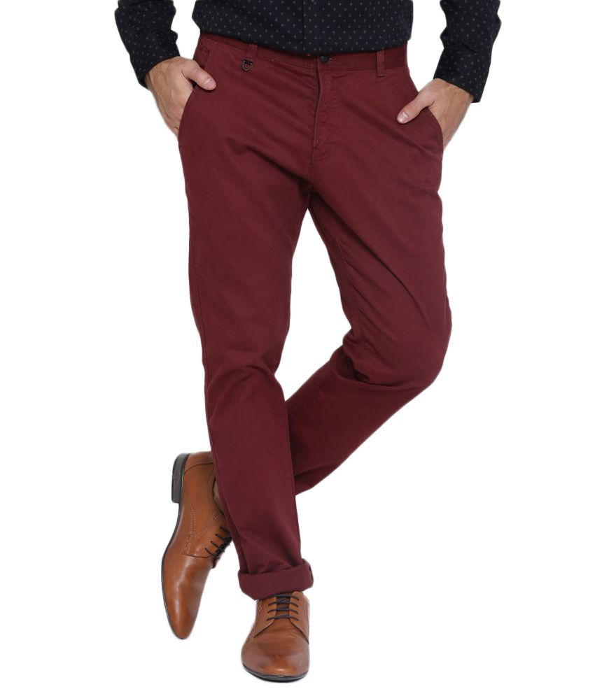 BLACKBERRYS Red Skinny Fit Casual Trousers