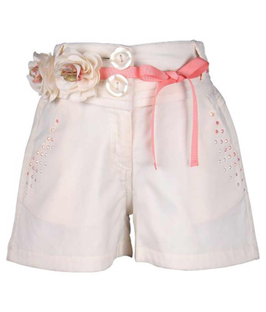 Cutecumber Off White Polyester Shorts