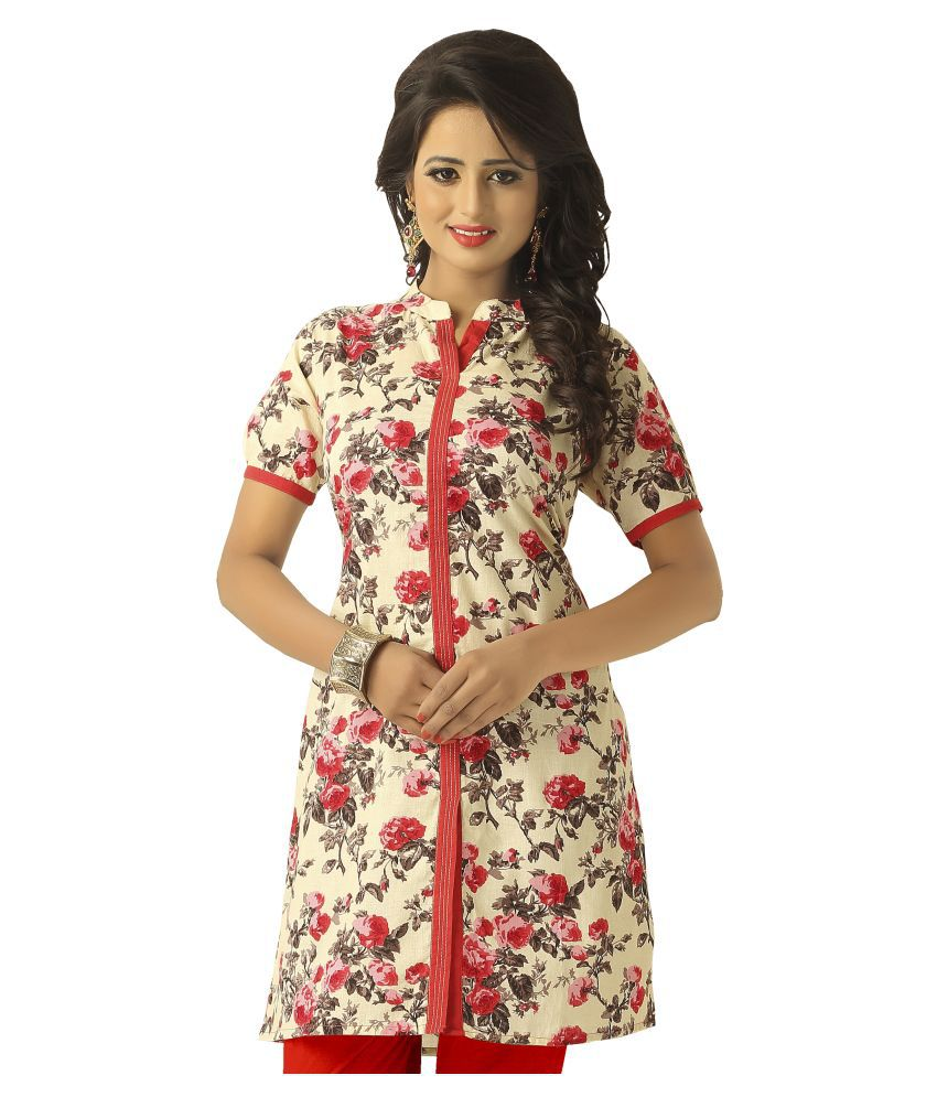 Lovely Look Multi Color Cotton Straight Kurti
