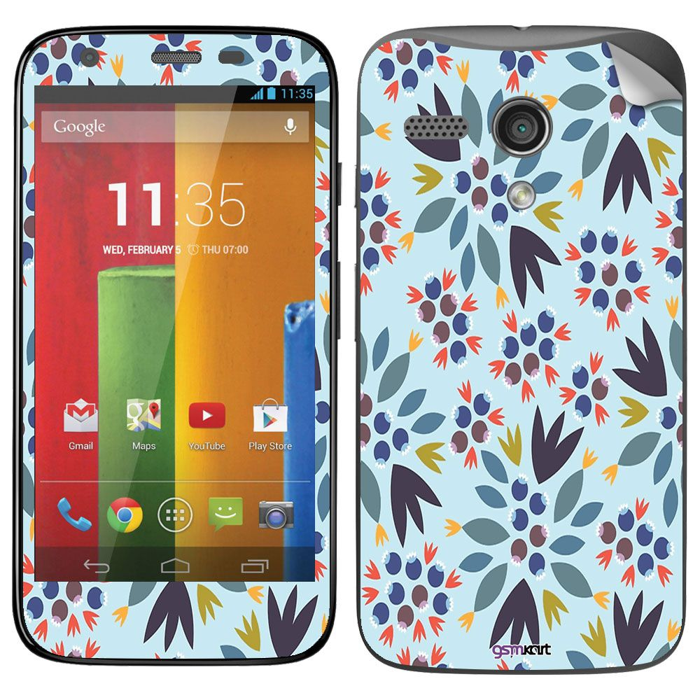 Motorola Moto G Turbo Designer Stickers by GsmKart - Blue