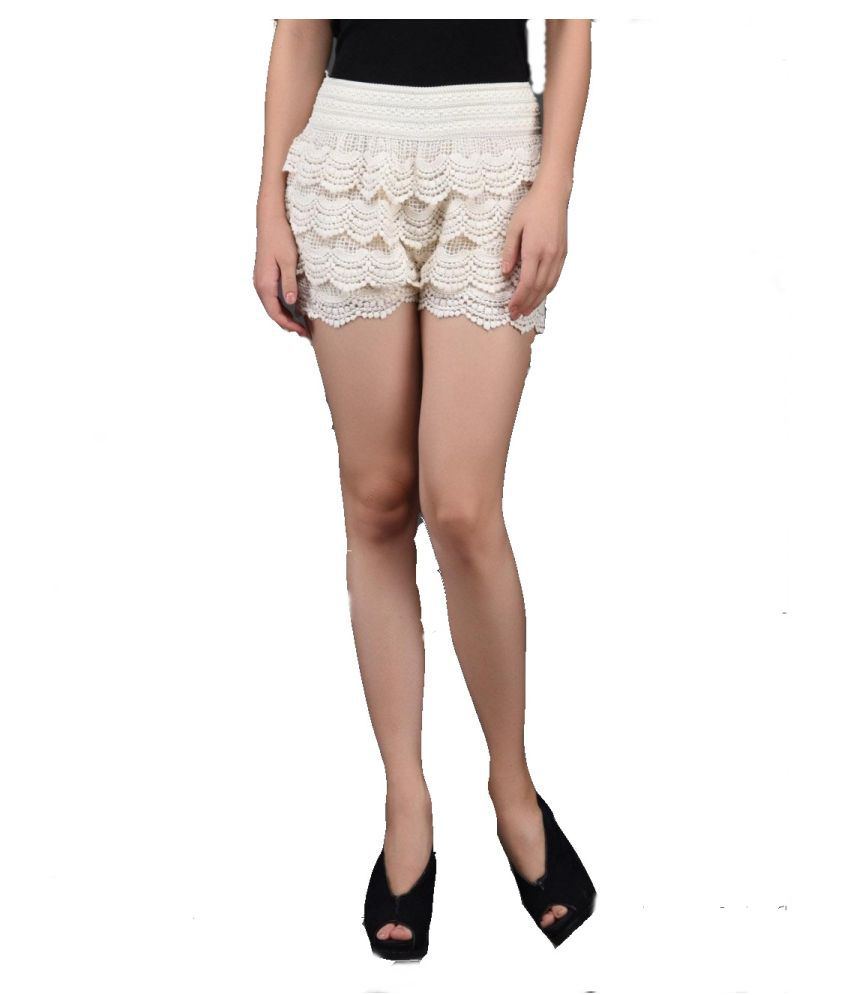 Loverlobby White Polyester Short