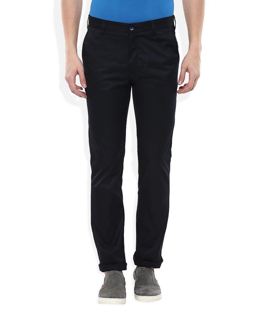 Parx Navy Blue Blue Slim Fit Casuals Trousers
