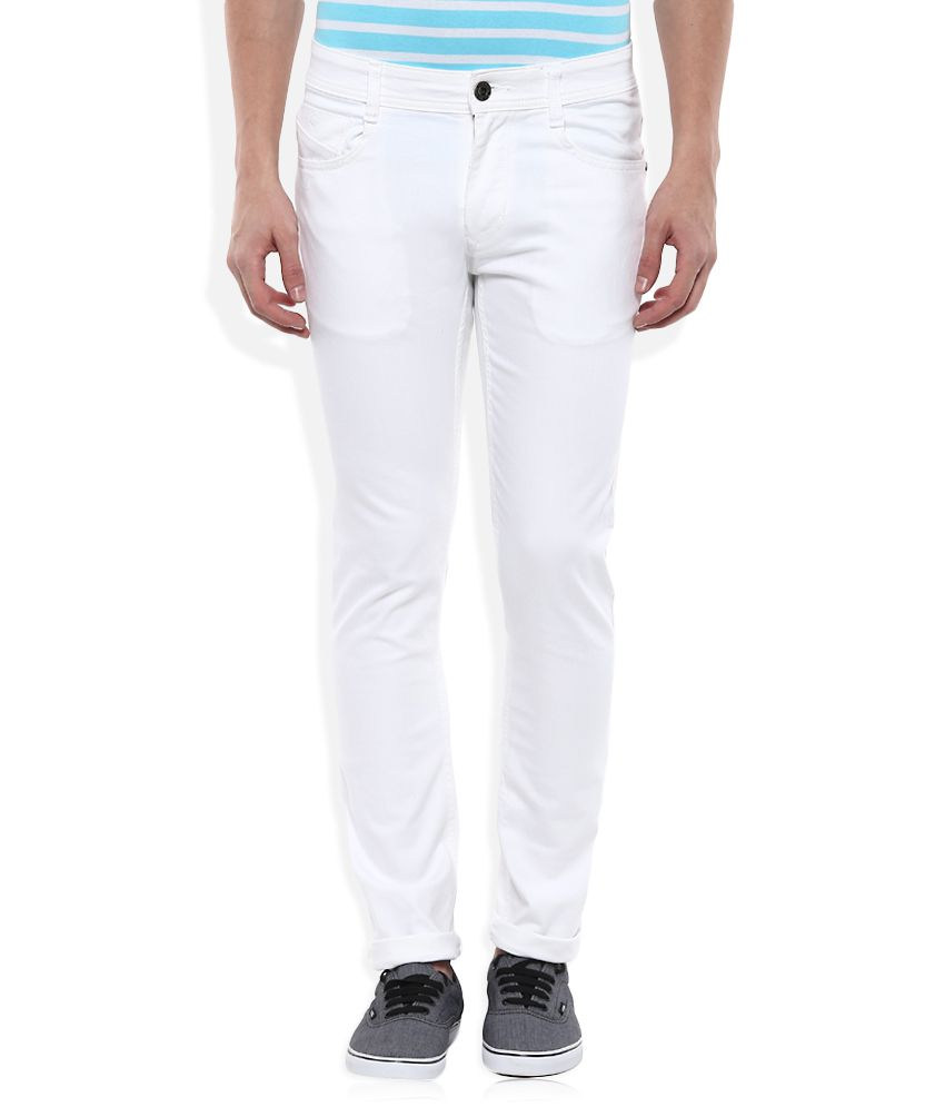 Parx White Slim Tapered Fit Jeans