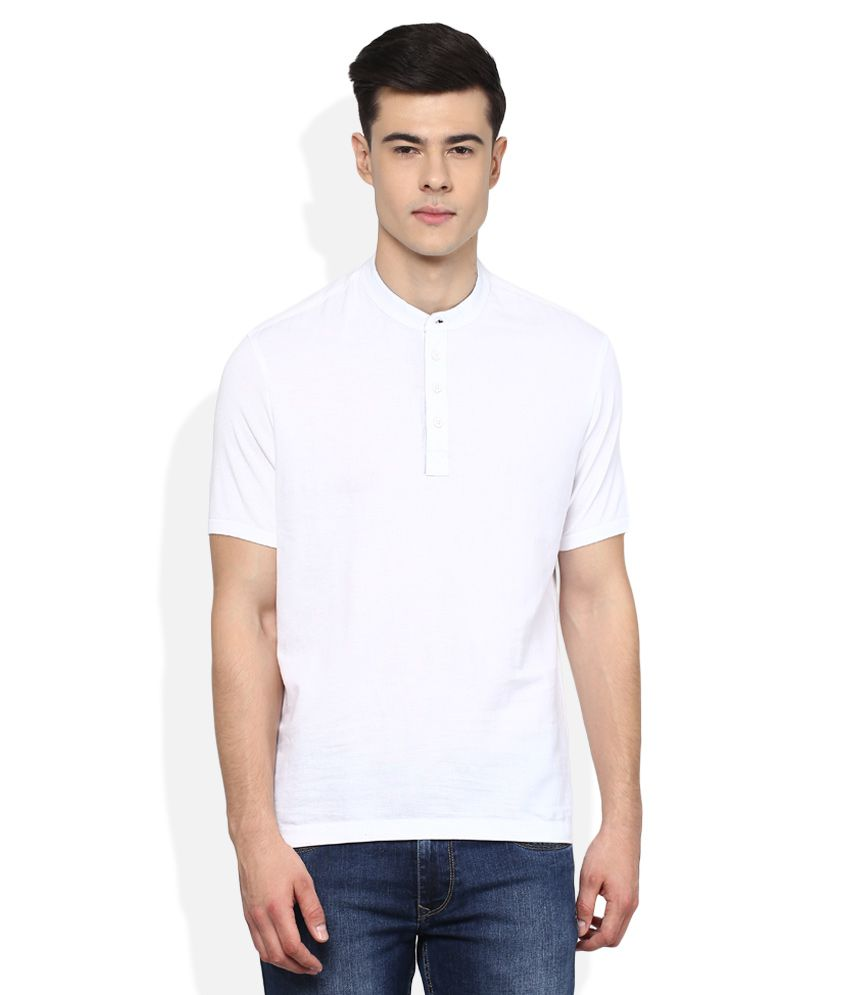 Parx White Solid Regular Fit Henley T-Shirt