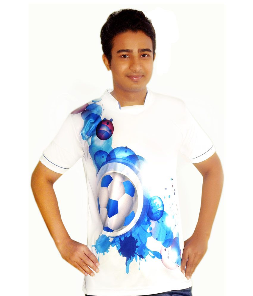 Dyed Colours White High Neck T-Shirt