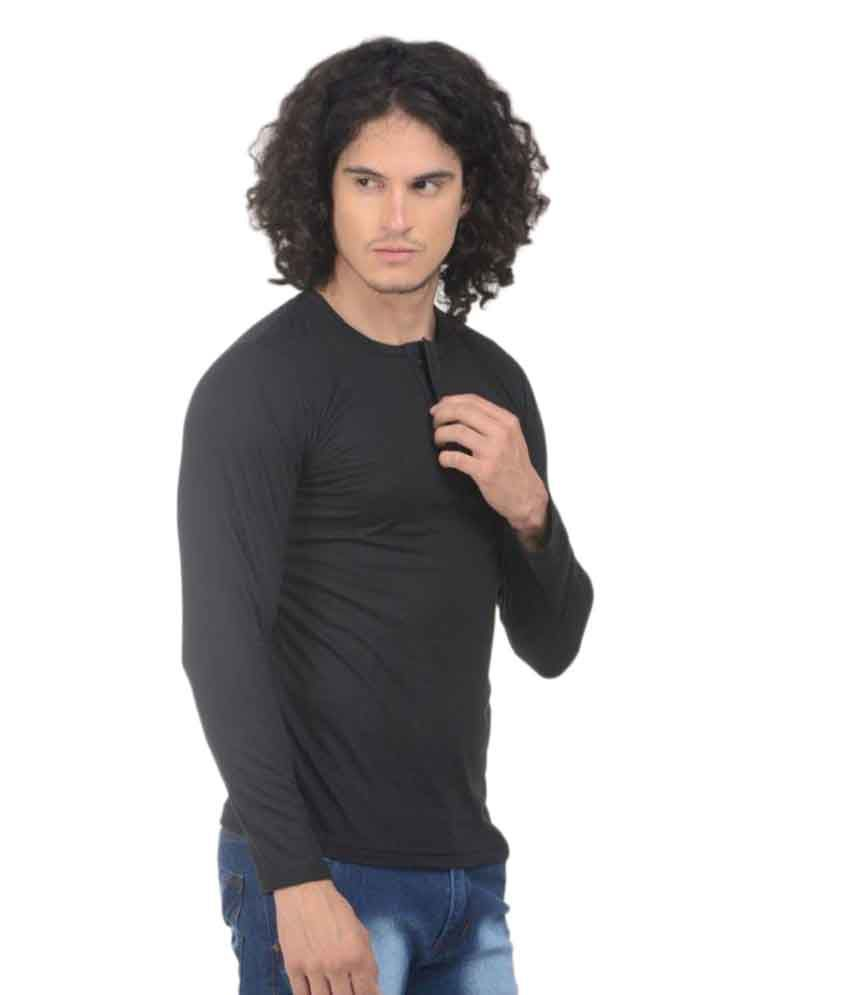 Vs Fashion Black Henley T-Shirt