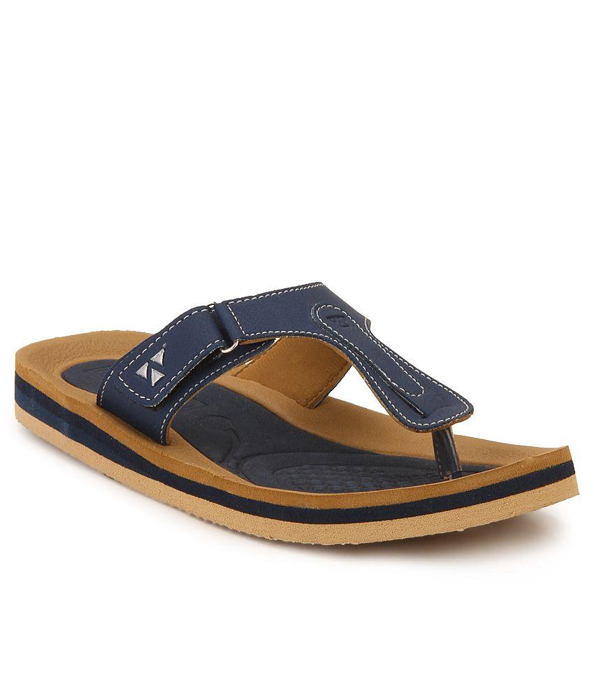 Windwalker Pinho Navy Blue & Brown Slippers