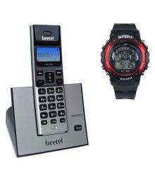 Beetel Beetel X-62 Cordless + Digital Watch Combo Cordless Landline Phone ( Silver )
